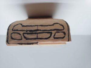 マニアモデルファイル 愛車 旧規格 HA21S/HB11S スズキ アルトワークス の自作 ミニカー 模型作り - フロントバンパー下部-左側の彫り -07