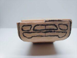 マニアモデルファイル 愛車 旧規格 HA21S/HB11S スズキ アルトワークス の自作 ミニカー 模型作り - フロントバンパー下部-左側の彫り -05