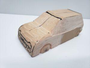 マニアモデルファイル 愛車 旧規格 HA21S/HB11S スズキ アルトワークス の自作 ミニカー 模型作り - 左側面の彫り -04