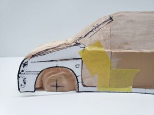 マニアモデルファイル 愛車 旧規格 HA21S/HB11S スズキ アルトワークス の自作 ミニカー 模型作り - 左側面の彫り -06