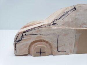マニアモデルファイル 愛車 旧規格 HA21S/HB11S スズキ アルトワークス の自作 ミニカー 模型作り - ボンネット、左側面の彫り -02