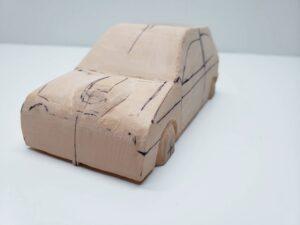 マニアモデルファイル 愛車 旧規格 HA21SHB11S スズキ アルトワークス の自作 ミニカー 模型作り -ボンネットダクトのわきの削りとケガキ (6)
