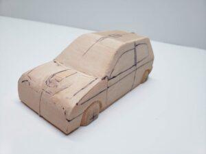 マニアモデルファイル 愛車 旧規格 HA21SHB11S スズキ アルトワークス の自作 ミニカー 模型作り -ボンネットダクトのわきの削りとケガキ (7)
