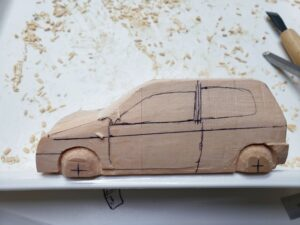 マニアモデルファイル 愛車 旧規格 HA21SHB11S スズキ アルトワークス の自作 ミニカー 模型作り -ボンネット右側の削り (2)
