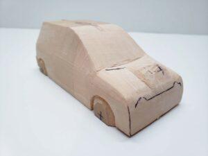 マニアモデルファイル 愛車 旧規格 HA21SHB11S スズキ アルトワークス の自作 ミニカー 模型作り -右側面のリア周辺の削り後の確認 (1)