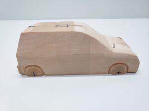 マニアモデルファイル 愛車 旧規格 HA21SHB11S スズキ アルトワークス の自作 ミニカー 模型作り -右側面のリア周辺の削り後の確認 (7)