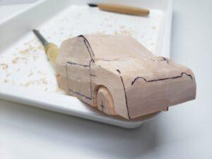 マニアモデルファイル 愛車 旧規格 HA21SHB11S スズキ アルトワークス の自作 ミニカー 模型作り -右側面の削り風景 (4)