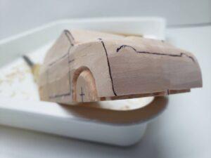マニアモデルファイル 愛車 旧規格 HA21SHB11S スズキ アルトワークス の自作 ミニカー 模型作り -右側面の削り風景 (5)