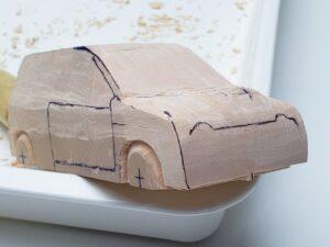 マニアモデルファイル 愛車 旧規格 HA21SHB11S スズキ アルトワークス の自作 ミニカー 模型作り -右側面の削り風景 (7)