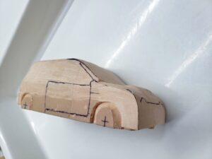 マニアモデルファイル 愛車 旧規格 HA21SHB11S スズキ アルトワークス の自作 ミニカー 模型作り -右側面の削り風景 (9)