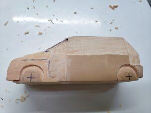 マニアモデルファイル 愛車 旧規格 HA21S/HB11S スズキ アルトワークス の自作 ミニカー 模型作り -左側面 再削り- 01