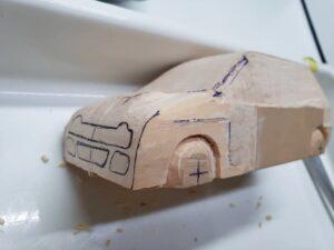 マニアモデルファイル 愛車 旧規格 HA21S/HB11S スズキ アルトワークス の自作 ミニカー 模型作り -左側面 再削り- 02
