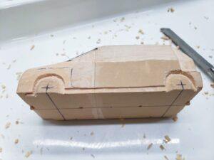 マニアモデルファイル 愛車 旧規格 HA21S/HB11S スズキ アルトワークス の自作 ミニカー 模型作り -左側面 再削り- 05b