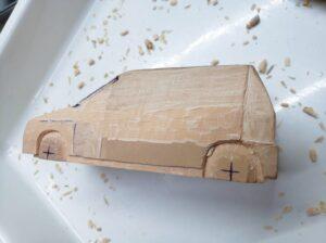 マニアモデルファイル 愛車 旧規格 HA21S/HB11S スズキ アルトワークス の自作 ミニカー 模型作り -左側面 再削り- 06