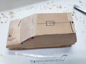 マニアモデルファイル 愛車 旧規格 HA21S/HB11S スズキ アルトワークス の自作 ミニカー 模型作り -左側面 再削り- 08