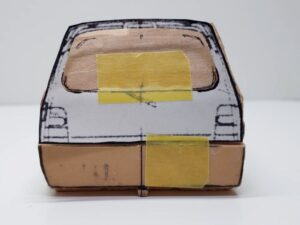 マニアモデルファイル 愛車 旧規格 HA21S/HB11S スズキ アルトワークス の自作 ミニカー 模型作り -後ろ側面 ケガキ- 01