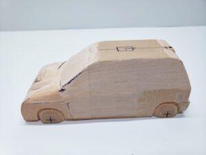 マニアモデルファイル 愛車 旧規格 HA21S/HB11S スズキ アルトワークス の自作 ミニカー 模型作り -左側面 再削り途中経過、全体像- 04