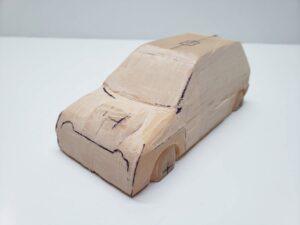 マニアモデルファイル 愛車 旧規格 HA21S/HB11S スズキ アルトワークス の自作 ミニカー 模型作り -前面 再削り- 02
