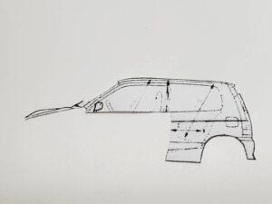 マニアモデルファイル 愛車 旧規格 HA21S/HB11S スズキ アルトワークス の自作 ミニカー 模型作り -左側面 型紙 再削り- 01