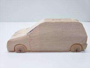 マニアモデルファイル 愛車 旧規格 HA21S/HB11S スズキ アルトワークス の自作 ミニカー 模型作り -左前面前面の 再削り- 06
