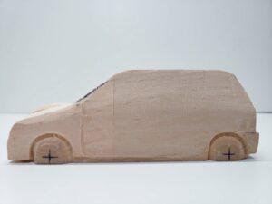 マニアモデルファイル 愛車 旧規格 HA21S/HB11S スズキ アルトワークス の自作 ミニカー 模型作り -左前面前面の 再削り- 05