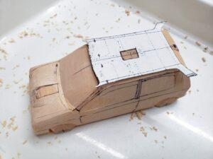 マニアモデルファイル 愛車 旧規格 HA21SHB11S スズキ アルトワークス の自作 ミニカー 模型作り -ルーフ左側の削り追加 (2)