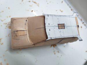 マニアモデルファイル 愛車 旧規格 HA21SHB11S スズキ アルトワークス の自作 ミニカー 模型作り -ルーフ左側の削り追加 (3)