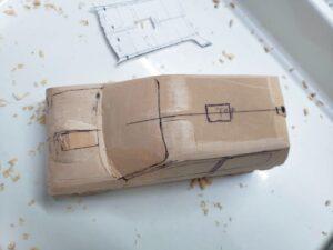 マニアモデルファイル 愛車 旧規格 HA21SHB11S スズキ アルトワークス の自作 ミニカー 模型作り -ルーフ左側の削り追加 (4)