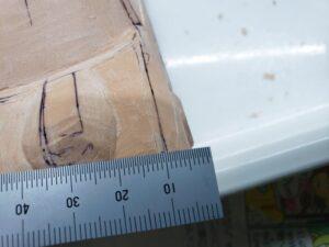 マニアモデルファイル 愛車 旧規格 HA21SHB11S スズキ アルトワークス の自作 ミニカー 模型作り -左側のボンネット上部とフェンダーの確認と削り (6)