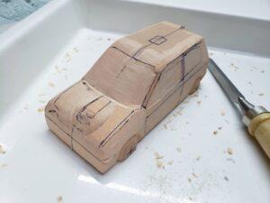 マニアモデルファイル 愛車 旧規格 HA21SHB11S スズキ アルトワークス の自作 ミニカー 模型作り -左側のボンネット上部とフェンダーの確認と削り (7)