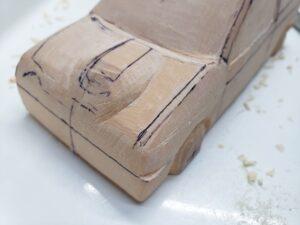 マニアモデルファイル 愛車 旧規格 HA21SHB11S スズキ アルトワークス の自作 ミニカー 模型作り -左側のボンネット上部とフェンダーの確認と削り (8)