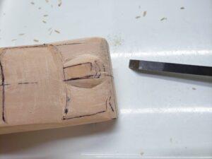 マニアモデルファイル 愛車 旧規格 HA21SHB11S スズキ アルトワークス の自作 ミニカー 模型作り -左側のボンネット上部の追加削り (5)