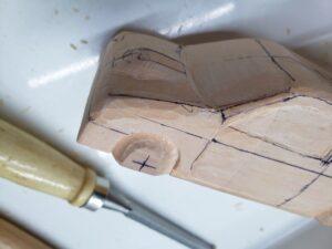 マニアモデルファイル 愛車 旧規格 HA21SHB11S スズキ アルトワークス の自作 ミニカー 模型作り -左側のボンネット上部ーの削り (4)
