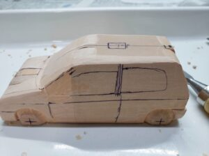 マニアモデルファイル 愛車 旧規格 HA21SHB11S スズキ アルトワークス の自作 ミニカー 模型作り -ルーフ左側の削り追加 (1-2)