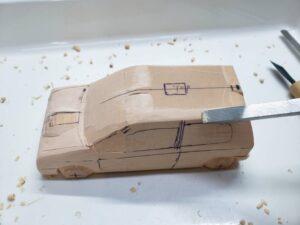 マニアモデルファイル 愛車 旧規格 HA21SHB11S スズキ アルトワークス の自作 ミニカー 模型作り -ルーフ左側の削り追加 (1)