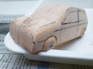 マニアモデルファイル 愛車 旧規格 HA21SHB11S スズキ アルトワークス の自作 ミニカー 模型作り -左前フェンダーの丸み削り (1)