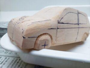 マニアモデルファイル 愛車 旧規格 HA21SHB11S スズキ アルトワークス の自作 ミニカー 模型作り -左前フェンダーの丸み削り (2)