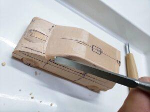 マニアモデルファイル 愛車 旧規格 HA21SHB11S スズキ アルトワークス の自作 ミニカー 模型作り -左前フェンダーの削り追加 (3)