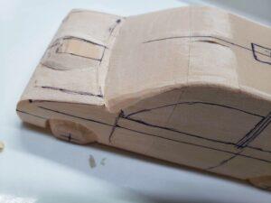 マニアモデルファイル 愛車 旧規格 HA21SHB11S スズキ アルトワークス の自作 ミニカー 模型作り -左前フェンダーの削り追加 (4)