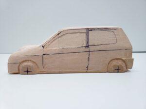 マニアモデルファイル 愛車 旧規格 HA21S-HB11S スズキ アルトワークス の自作 ミニカー 模型作り -左ピラー、側面、ルーフの削り途中 (1)