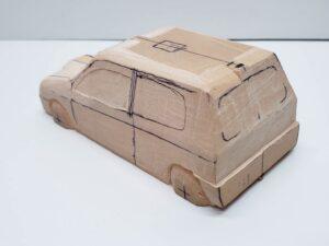 マニアモデルファイル 愛車 旧規格 HA21S-HB11S スズキ アルトワークス の自作 ミニカー 模型作り -左ピラー、側面、ルーフの削り途中 (10)
