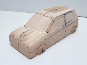 マニアモデルファイル 愛車 旧規格 HA21S-HB11S スズキ アルトワークス の自作 ミニカー 模型作り -左ピラー、側面、ルーフの削り途中 (11)
