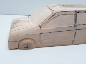 マニアモデルファイル 愛車 旧規格 HA21S-HB11S スズキ アルトワークス の自作 ミニカー 模型作り -左ピラー、側面、ルーフの削り途中 (12)
