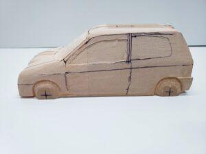 マニアモデルファイル 愛車 旧規格 HA21S-HB11S スズキ アルトワークス の自作 ミニカー 模型作り -左ピラー、側面、ルーフの削り途中 (2)