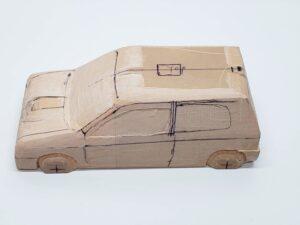 マニアモデルファイル 愛車 旧規格 HA21S-HB11S スズキ アルトワークス の自作 ミニカー 模型作り -左ピラー、側面、ルーフの削り途中 (4)