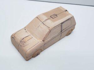 マニアモデルファイル 愛車 旧規格 HA21S-HB11S スズキ アルトワークス の自作 ミニカー 模型作り -左ピラー、側面、ルーフの削り途中 (5)