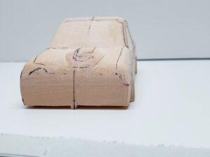 マニアモデルファイル 愛車 旧規格 HA21S-HB11S スズキ アルトワークス の自作 ミニカー 模型作り -左ピラー、側面、ルーフの削り途中 (7)