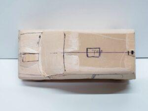 マニアモデルファイル 愛車 旧規格 HA21S-HB11S スズキ アルトワークス の自作 ミニカー 模型作り -左ピラー、側面、ルーフの削り途中 (8)