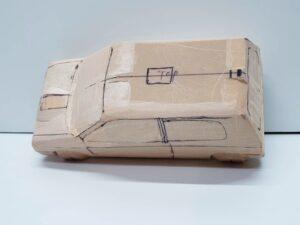 マニアモデルファイル 愛車 旧規格 HA21S-HB11S スズキ アルトワークス の自作 ミニカー 模型作り -左ピラー、側面、ルーフの削り途中 (9)