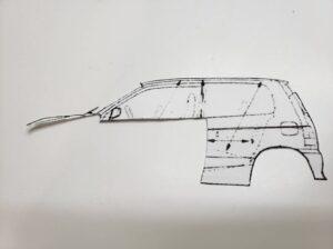 マニアモデルファイル 愛車 旧規格 HA21SHB11S スズキ アルトワークス の自作 ミニカー 模型作り -左側の型紙を切り抜き-01